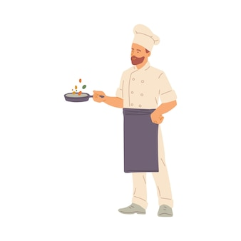 Bearded man chef cook in high hat standing with pan in hands, flat illustration on white