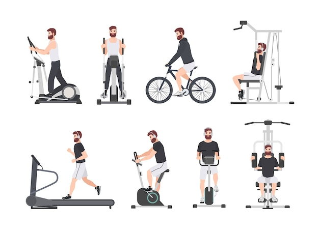Bearded man dressed in sports clothes doing fitness training on exercise machines at gym