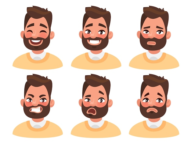 Bearded man emoji character with different expressions