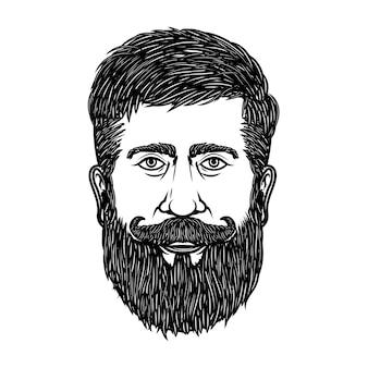 ひげを生やした男の頭が白い背景で隔離。ポスター、エンブレム、記号の要素。図