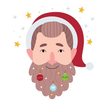 Бородатый мужчина в шапке санта-клауса. борода в елочных украшениях.