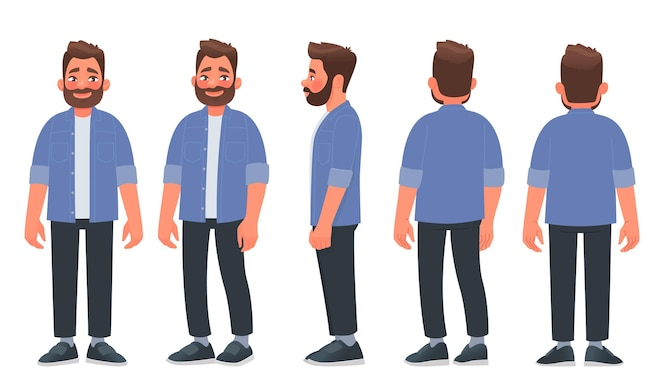カジュアルな服装のひげを生やした男男は正面から、横から、後ろから見ています