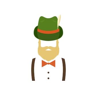 緑の伝統的なドイツの帽子のひげを生やした男
