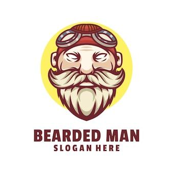あごひげを生やした男のロゴデザインベクトル