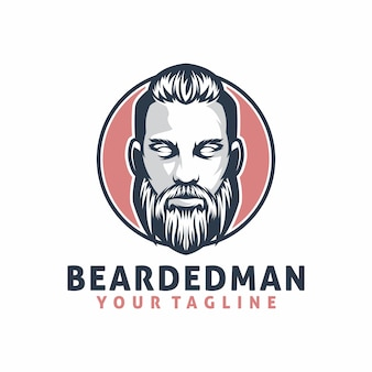 Bearded man logo template