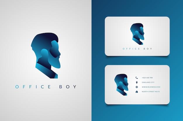 青のグラデーションの概念を持つひげを生やした男のロゴ。インテリジェンスとテクノロジーをテーマにした男のロゴ