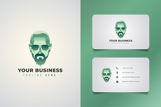 緑のグラデーションの概念のメガネとひげを生やした男のロゴ。ロゴと名刺セット