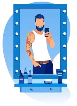 Bearded man making selfie in mirror at barbershop