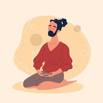 Бородатый мужчина медитирует