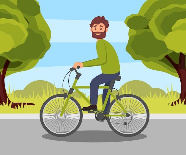 Бородатый мужчина езда на велосипеде в парке, здоровый и активный образ жизни, экологически чистых альтернативных транспортных средств иллюстрация