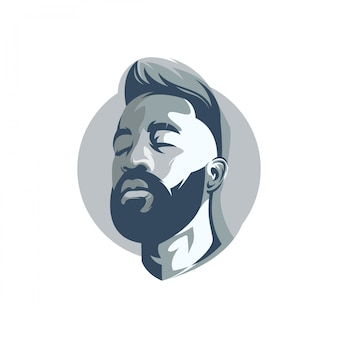 Bearded man's face logo