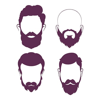 Bearded man. silhouette of a beard for barbershop. vector illustration.