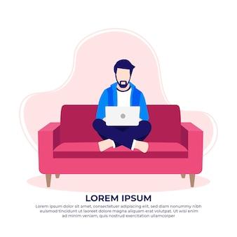 Бородатый мужчина сидит на диване с помощью ноутбука, работая дома