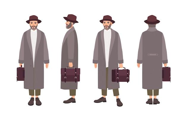 エレガントなコート、帽子をかぶって、ブリーフケースを持っているひげを生やした男。孤立した面白い男性漫画のキャラクター。正面図、側面図、背面図