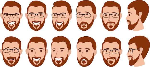Bearded man with different facial expressions set.