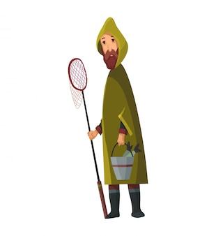 魚の網と彼の手にバケツを持つひげを生やした男。バケツで魚を捕まえた。レインコートのフィッシャー