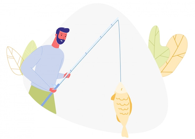 Bearded man with fishing rod in hand caught fish.