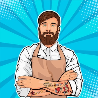 Bearded man with tattoo on arms