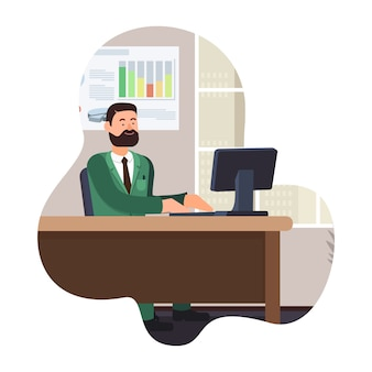 Bearded man work on computer. vector illustration.