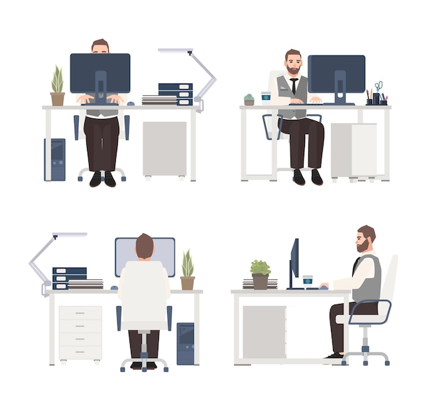 Bearded man working on computer at workplace. male clerk or manager sitting at office desk. flat cartoon character isolated on white background.