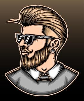 ひげを生やした男性の髪型。
