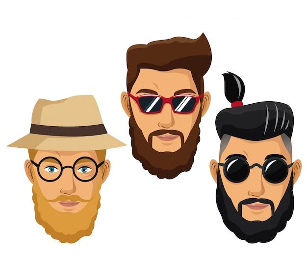 ひげのある男性hipsterスタイルのファッション