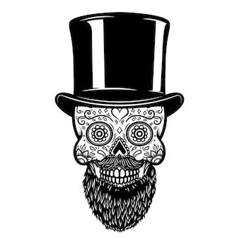ビンテージ帽子のひげを生やしたメキシコの砂糖の頭蓋骨。死霊のえじき。