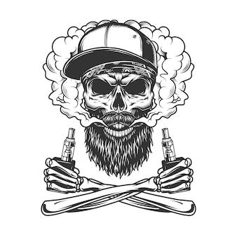 Bearded and mustached hipster skull