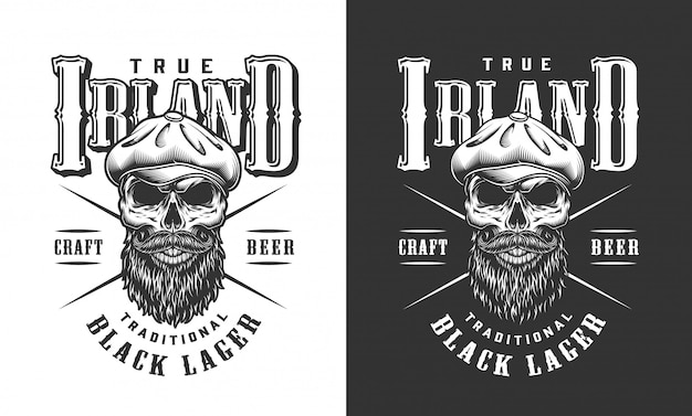 Bearded and mustached irish skull label