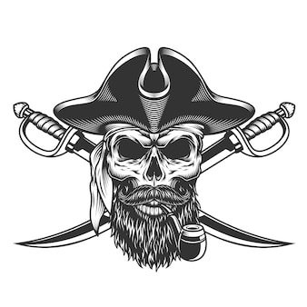 Bearded and mustached pirate skull