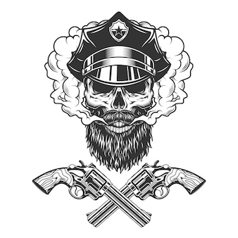 Bearded and mustached policeman skull