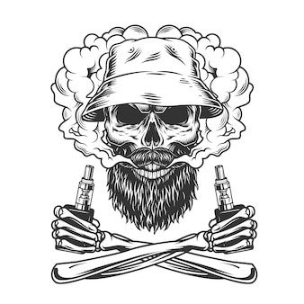 Bearded and mustached skull wearing panama hat