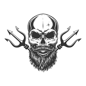 Bearded and mustached skull