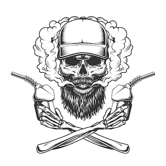 Bearded and mustached trucker skull