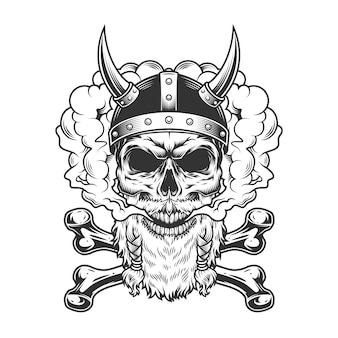 Bearded and mustached viking skull