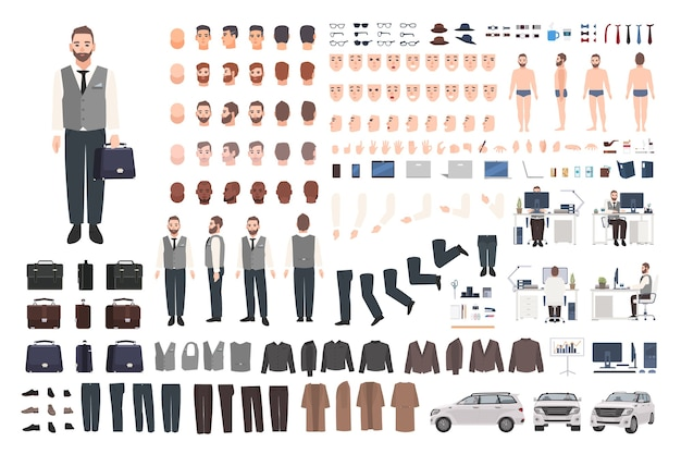 Bearded office worker, clerk or manager creation set or diy kit
