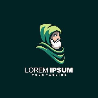 Bearded old man logo design