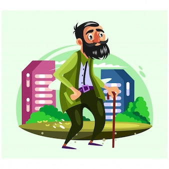 Bearded old man walks in the city with walking stick cartoon character