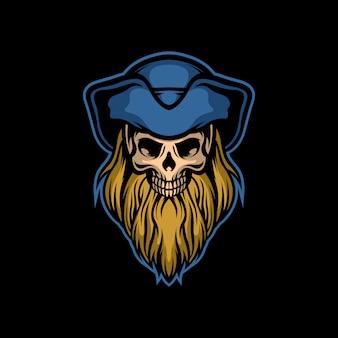 Бородатый пиратский череп