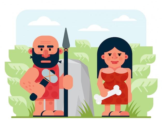 Бородатый доисторический мужской охотник с копьем и молотком и женщиной с костью, стоящей около скалы и кустарников в природе, мультфильма плоская векторная иллюстрация.