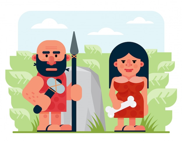 Bearded prehistoric male hunter with spear and hammer and woman with bone standing near rock and bushes in nature cartoon flat vector illustration.