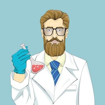 Бородатый ученый в белом халате держит пузырек с красной жидкостью на синем фоне. большие очки, синий галстук и каштановые волосы. поясной графический портрет. иллюстрации.