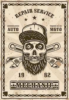 Bearded skull in cap and crossed adjustable wrenches poster in vintage style vector illustration. layered, separate grunge textures and text
