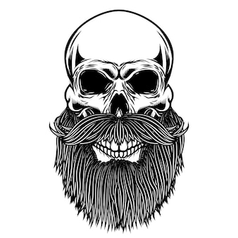 Бородатый череп. элемент для плаката, эмблемы, футболки. иллюстрация