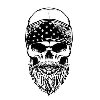 Голова бородатого черепа с банданой