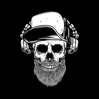 Bearded skull in headphones.  element for poster, card, emblem, sign banner.  image