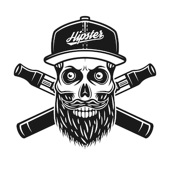 Bearded skull of hipster in baseball cap and two crossed electronic cigarettes vector illustration in vintage monochrome style isolated on white background