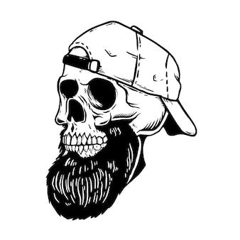 야구 모자에 수염 된 해골. 엠블럼, 포스터, 카드, 티셔츠 요소. 삽화