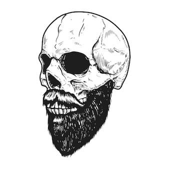 白い背景に彫刻スタイルのひげを生やした頭蓋骨。ロゴ、ラベル、サイン、ポスター、バナー、tシャツのデザイン要素。ベクトルイラスト