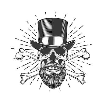 ビンテージハットのひげを生やした頭蓋骨。交差した骨。ポスター、エンブレム、看板、tシャツの要素。図